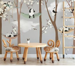 Wholesale custom size d photo wallpaper mural kids room cartoon hand drawn panda big tree d picture sofa backdrop wallpaper mural non woven sticker