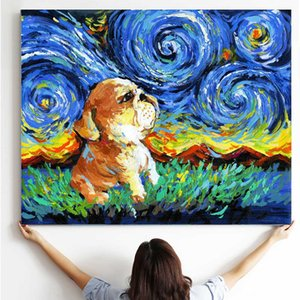 Wholesale WANGART Pug Art Starry Night Art Print Dog Lover Gift Cute Pup Puppy Wooden Scroll Painting Animal Frame Canvas Print Home