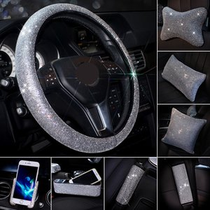 Wholesale MR Crystal Steering Wheel Cover PU Leather Bling Bling Rhinestones Car Headrest Neck Pillow Waist Support Seat Belt Cover