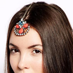 Wholesale Vintage Hair Jewelry Floral Blue Crystal Headpiece With Hairpin Rhinestone Head Piece Women Forehead Chain Indian Accessories
