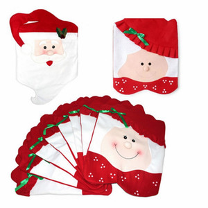 Wholesale Santa Claus Mrs Claus Cap Chair Covers Christmas Dinner Table Decoration for Home Chair Back Cover Decoracion