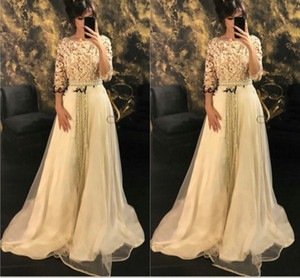Wholesale Modest Half Sleeve Long Formal Evening Dresses Caftan Morrocco Jellaba Caftan D or Full length D Floral Occasion Prom Gowns