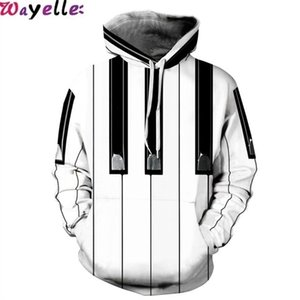 Wholesale 2019 Sweatshirt D Printing Lovers Hooded Street Piano Key Influx People Loose Sports Prismatic Uniform Warm Visual Size XXL Big