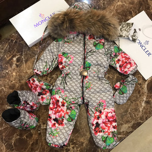 Wholesale designer down jacket kids clothing Baby winter new Baby jumpsuit gloves feet goose down feather filled jumpsuit Frozen custom best