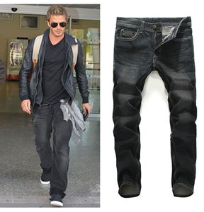 Men Jeans Straight Long Pants Casual High Streetwear Slim Fit Youth Dark Black Demin Jeans Plus Size