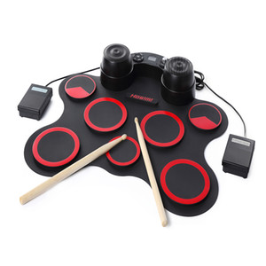 Wholesale drum kits resale online - Stereo Electronic Drum Set Silicon Electronics Drum Pads Built in Speakers USB Recording Function with Drumsticks Pedals