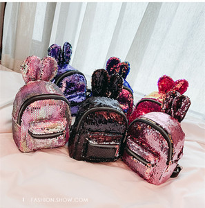 Wholesale Women Small Travel Backpack Cute Rabbit Ear Sequins Backpacks for Teenage Girls Mini School Bags Back Pack Kids Bagpack LE324
