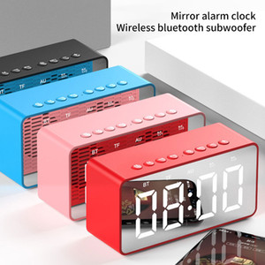 Wholesale clock cards for sale - Group buy Wireless Bluetooth Speaker Subwoofer Mirror LED Alarm Clock Portable LoudSpeaker Bedside Bass Box Speaker Support AUX FM TF Card