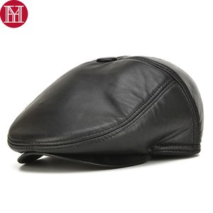 Men Real Genuine Leather Earflap Hats Male Casual Real Sheepskin Leather Caps Sheep Skin Fall Winter Newsboy Beret Hat