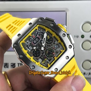 15 Colors RM 11-03RG Big Date Flyback Chrono Skeleton Dial Miyota Automatic RM11-03 Mens Watch Silvery Case Yellow Rubber Band Sport Watches