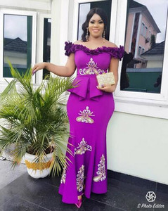 2019 Aso Ebi mermaid Evening Dresses Nigeria with 3D Lace Appliques off the shoulder Saudi ruched Stunning plus size Celebrity prom Dresses on Sale