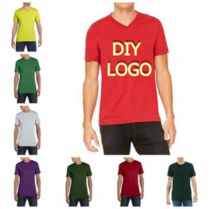 Wholesale Factory Price Customized Logo Print T Shirts Half Sleeve Homme Tees Drop Shipping Mens Clothing Diy Your Logo Cotton Summer Tshirts