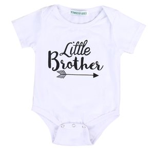 Wholesale Summer Hot Sale Toddler Kids Big Sisters Little Brothers Clothes Short Sleeve White Cotton Letter T shirt Loose Tops New