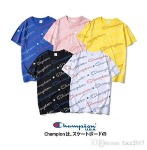 Wholesale New Summer Cham Full body Printed Couple Short T neck Tide Champion Embroidered Small T shirt Fast Delivery
