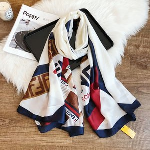Wholesale with tags popular long beach scarfs cm cm fen letters Geometric Patchwork silk shawls for woman ladies girls factory price free