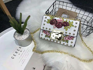 Pink sugao 2018 new style 4 color leather rivet embroid purses luxury designer handbags women famous brand chain shoulder bag on Sale