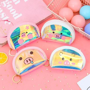 Wholesale Korean Style Cartoon Kids Purse Girls Small Wallet Laser Coin Bag PVC Change Pocket Portable Card Pouch Key Earphone Organizer