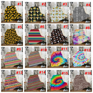 Wholesale floral sofas for sale - Group buy Sherpa Blanket cm sunflower floral striled leopard D Printed Kids Winter Plush Shawl Couch sofa throw Fleece Wrap Apparel LJJA2961