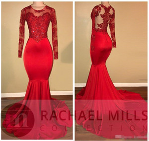 2019 Red Satin Prom Party Mermaid Dresses Sheer Neck Appliqued Lace African Black Girls Plus Size Evening Gowns Red Carpet Dress Vestido