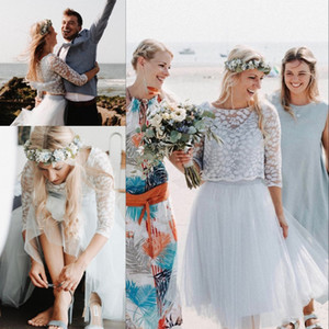kleidet zwei stücke großhandel-Dusty Blue Short Brautkleider mit Ärmeln Modest Two Pieces Lace Tüll Sommerurlaub Seaside Bohemian Bridal Brautkleid