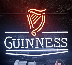 Wholesale Custom Led GUINNESS Neon Sign Light Outdoor Beer Entertainment Store Display Real Glass Neon Lamp Light Metal Frame
