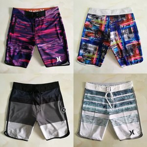 Wholesale 2019 Men Swimwear Colors Elastic Rope Waterproof Quick Drying Striped Straight Tube Beach Shorts Surfing Swimming Trunks Summer