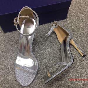 Silver High Heel Sandals Women Leather Stiletto Sandals Classic Ankle Strap Style Shoes Designer Party Wedding High Heel Sandals Wholesale
