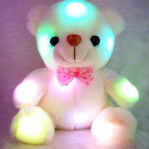 Colorful LED Flash Light Bear Doll Plush Animals Stuffed Toys Size 20cm - 22cm Bear Gift For Children Christmas Gift Stuffed Plush toy on Sale