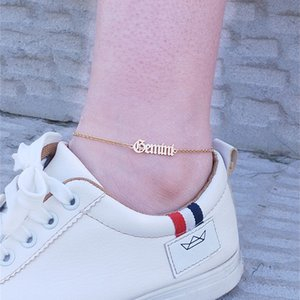 Wholesale anklets bracelet resale online - Gold Ketting Constellation Anklets Zodiac Sign Letter Ankle Bracelet Women Men Vintage Jewelry Old English Letters Leg Bracelet