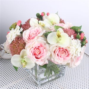 mezcla de ramo al por mayor-1 Conjunto Mezcla Hydrangea Orquídea Seda Artificial Rosas Flores Ramo Nupcial DIY Boda Home Table Room Decor Fake Peony Flores Artificiales
