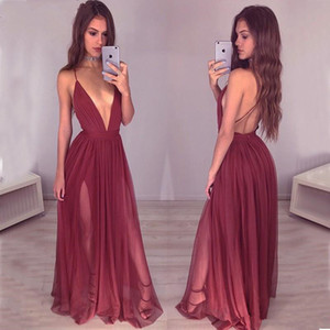 Wholesale Sexy Deep V Neck Backless Burgundy Prom Dresses Spaghetti Straps Wine Red Split Long Evening Gowns Cheap Special Occasion Dress