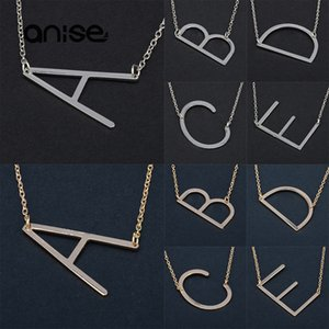 Wholesale Women New Minimalist Letter Necklace Gold And Silver Color Letter Name Necklaces For Women Birthday Party Anniversary Gift