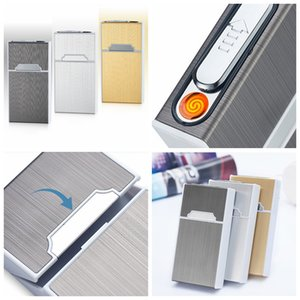 Wholesale Mini Colorful USB Lighter Cigarette Cases Shell Casing Storage Box Aluminum Plastic Exclusive Design Portable Magnet Switch Hot Sale