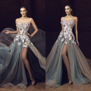 Newest Tony Chaaya Stylish 2019 A Line Prom Dresses Long Strapless High Side Split Appliques Embroidery Sweep Train Customized Evening Gowns on Sale