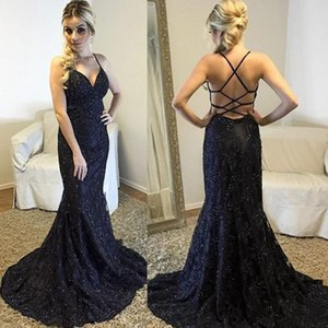 Sexy Mermaid Lace Prom Dresses Spaghetti Straps Backless Beads Mermaid Criss Cross Straps Mother Of The Bride Dresses Evening Gowns on Sale