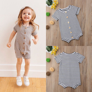 Wholesale Brand New Toddler Newborn Baby Boys Girl Striped Romper Infant Boy Girl Jumpsuit Cotton Short Sleeve Casual Summer Clothing