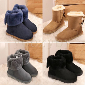 Wholesale hot sell wgg fashion luxury designer australian classic triple black women shoes for winter slipper fur boots ankle snow knee high boot994c