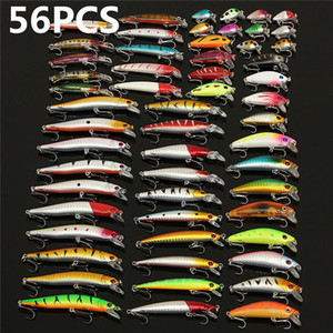 56Pcs lot Almighty Mixed Fishing Lure Bait Set Wobbler Crankbaits Swimbait Minnow Hard Baits Spiners Carp Fishing Tackle