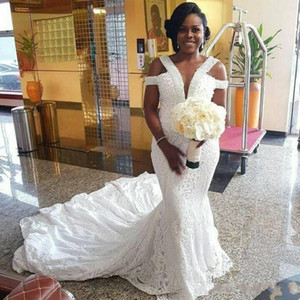 Wholesale 2020 New Sexy Mermaid lace Nigerian Wedding Dresses Plus Size Fat With Beads Abiti Da Sposa Bridal Gowns South Africa