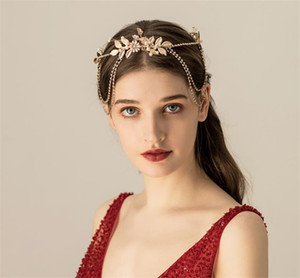 Wholesale Indian Hair Chain Gold Leaf Forehead Headband Wedding Bridal Crown Tiara Crystal Rhinestone Headpiece Jewelry Ornament Party Prom Headdress
