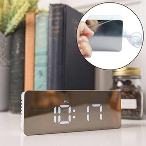 Wholesale Led Clock Mirror Alarm Clock Digital Ime Temperature Bedroom Table Wake Up Bedside Light Electronic Projector LZH542