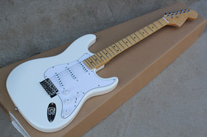 Wholesale white maple wood resale online - Selling white Tilia wood electric guitar with white guard board and SSS pickup groove Maple finger board can be customized