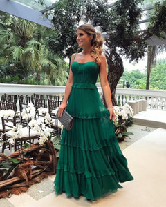 2019 Cheap Green Maxi Long Summer Casual Dresses Beach Garden Bohemian Party Dress A Line Spaghetti Strap Femme Vestidos 2485 on Sale