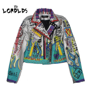 Wholesale LORDLDS Leather Jacket Women Fashion Print New Spring Turn down collar Punk Rock Silver Jackets Ladies Outwear coats