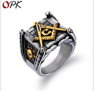 Wholesale Retro Religious Freemasonry Titanium Steel Ring Sun Moon Ring