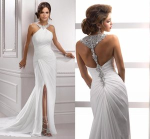2019 Sparkling Halter Crystal Beading Evening Dresses New Sexy Slit Sleeveless Pleat Mermaid White Long Chiffon Formal Prom Party Gowns on Sale