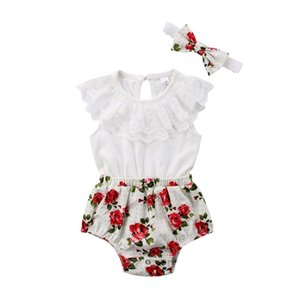 Wholesale Emmababy Newborn Baby Kids Girl Floral Print Lace Bodysuits Jumpsuit Bow Headband Outfit Clothes