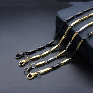 Wholesale 20 inches rhombus Gold black Silver Stainless steel ball station chain floating locket chains necklace chain