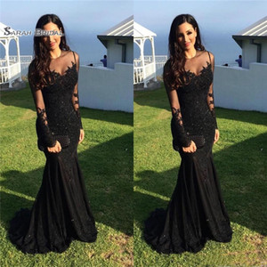 Black Mermaid Evening Dresses Lace Beads Vestidos De Novia Prom Dresses Cheap Long Sleeves Prom Dress on Sale