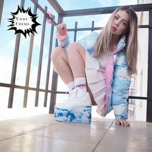 Wholesale 2017 Winter cute kawaii lolita sweet blue and baby pink clouds printed coats women winter jackets lazy oaf long coat